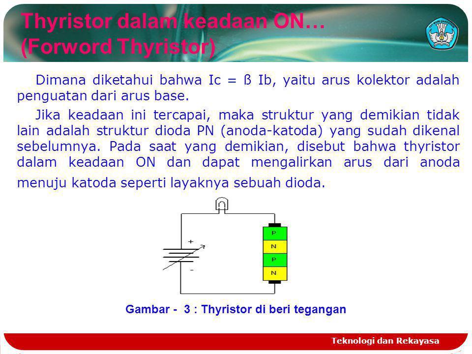Teknologi dan Rekayasa Thyristor dalam keadaan OFF… Reverse Thyristor Bagaimana kalau pada thyristor ini kita beri beban lampu dc dan diberi suplai tegangan dari nol sampai tegangan tertentu seperti pada gambar 3.
