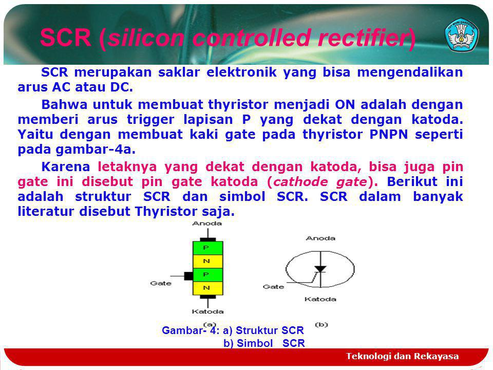 Teknologi dan Rekayasa SCR merupakan saklar elektronik yang bisa mengendalikan arus AC atau DC. Bahwa untuk membuat thyristor menjadi ON adalah dengan