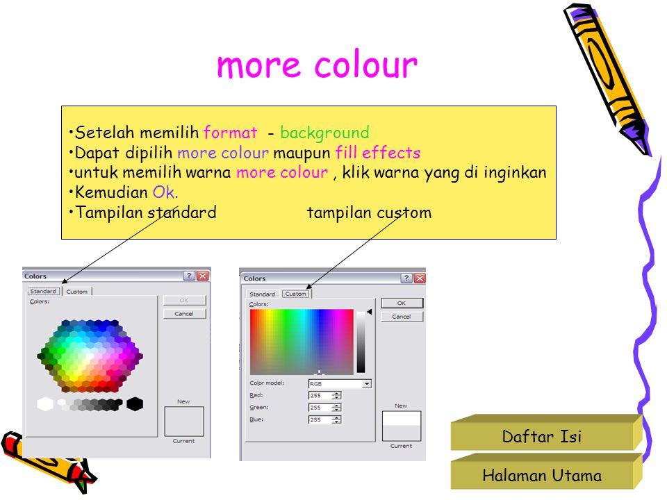 more colour Halaman Utama Daftar Isi Setelah memilih format - background Dapat dipilih more colour maupun fill effects untuk memilih warna more colour