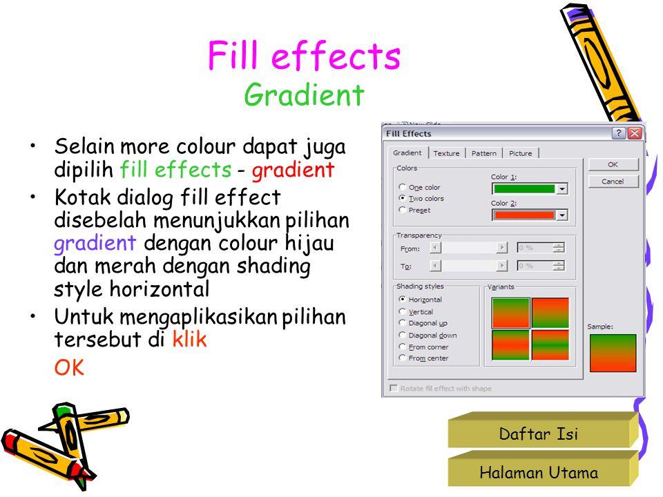 Fill effects Gradient Selain more colour dapat juga dipilih fill effects - gradient Kotak dialog fill effect disebelah menunjukkan pilihan gradient de