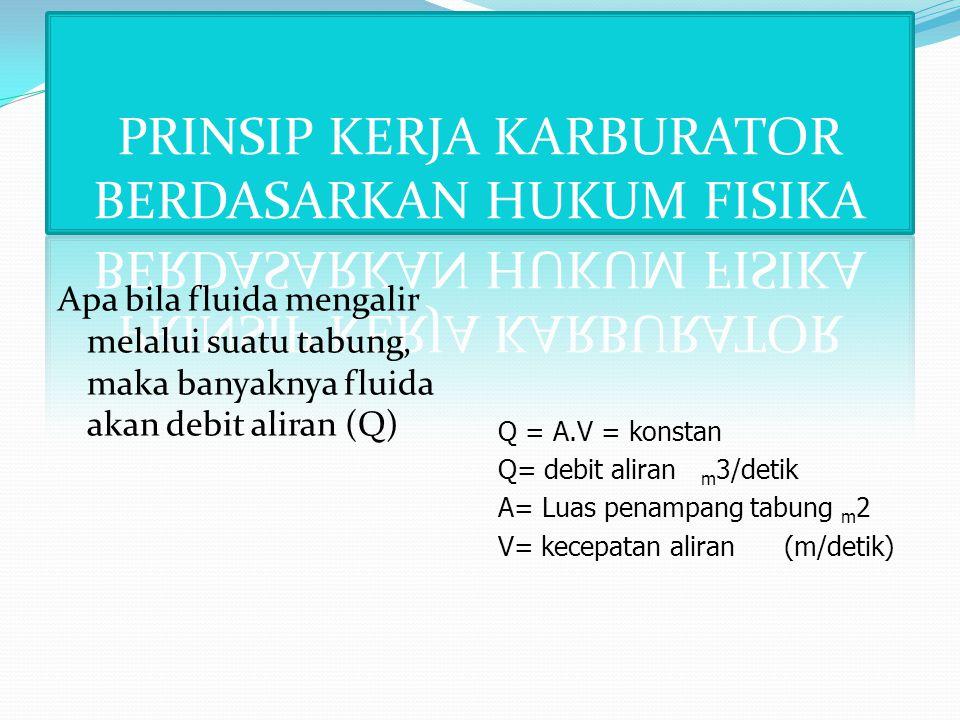 Apa bila fluida mengalir melalui suatu tabung, maka banyaknya fluida akan debit aliran (Q) Q = A.V = konstan Q= debit aliran m 3/detik A= Luas penampang tabung m 2 V= kecepatan aliran (m/detik)