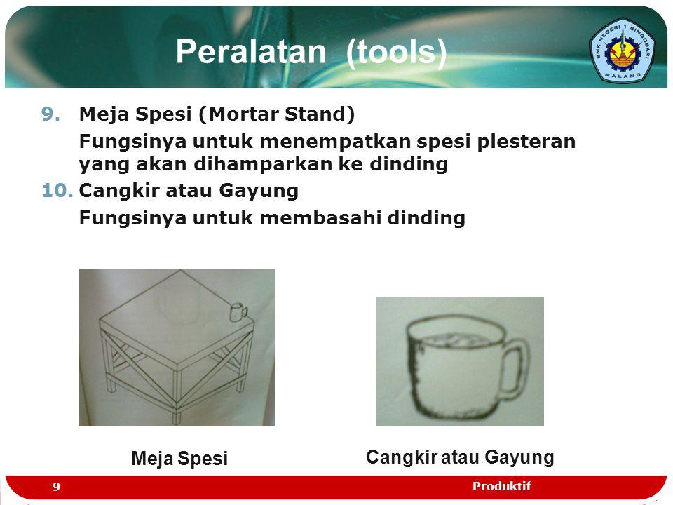 Peralatan (tools) 9.Meja Spesi (Mortar Stand) Fungsinya untuk menempatkan spesi plesteran yang akan dihamparkan ke dinding 10.Cangkir atau Gayung Fung