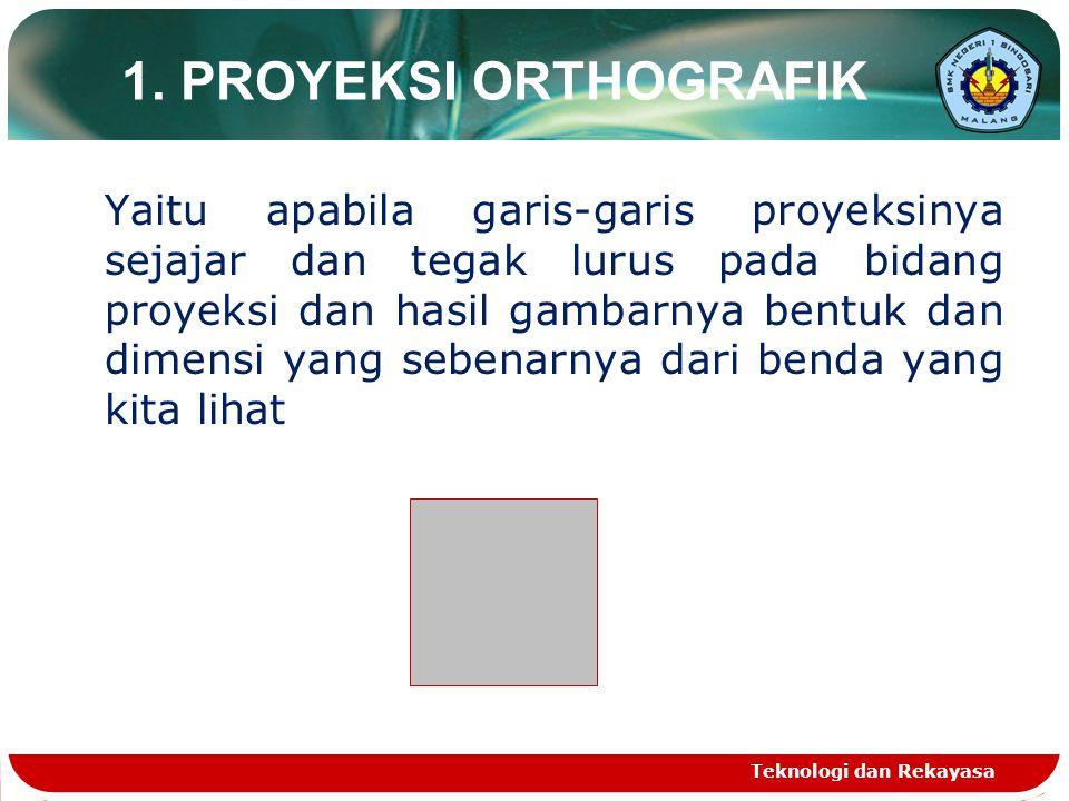 Teknologi dan Rekayasa 1. PROYEKSI ORTHOGRAFIK Yaitu apabila garis-garis proyeksinya sejajar dan tegak lurus pada bidang proyeksi dan hasil gambarnya