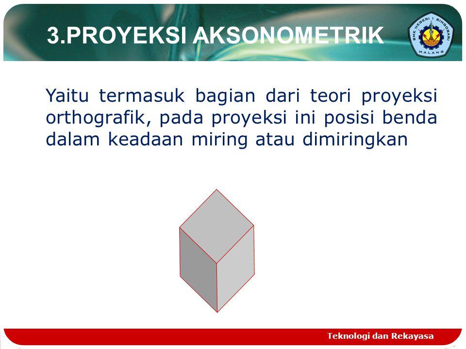 Teknologi dan Rekayasa 3.PROYEKSI AKSONOMETRIK Yaitu termasuk bagian dari teori proyeksi orthografik, pada proyeksi ini posisi benda dalam keadaan mir
