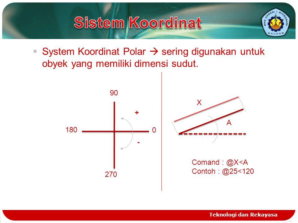  System Koordinat Polar  sering digunakan untuk obyek yang memiliki dimensi sudut. 0 90 180 270 + - A X Comand : @X<A Contoh : @25<120 Teknologi dan