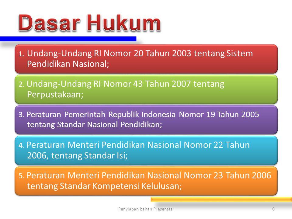 1.Undang-Undang RI Nomor 20 Tahun 2003 tentang Sistem Pendidikan Nasional; 2.
