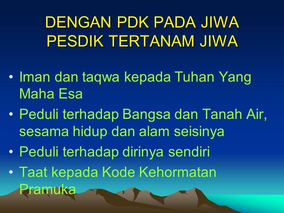 DENGAN PDK PADA JIWA PESDIK TERTANAM JIWA Iman dan taqwa kepada Tuhan Yang Maha Esa Peduli terhadap Bangsa dan Tanah Air, sesama hidup dan alam seisin