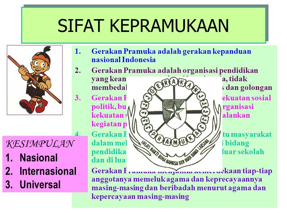 MENURUT WOSM ( World Organization of The Scout Movement ) Kepramukaan adalah : 1.Pendidikan sepanjang hayat 2.Kegiatan kaum muda 3.Rekreasi dan edukat