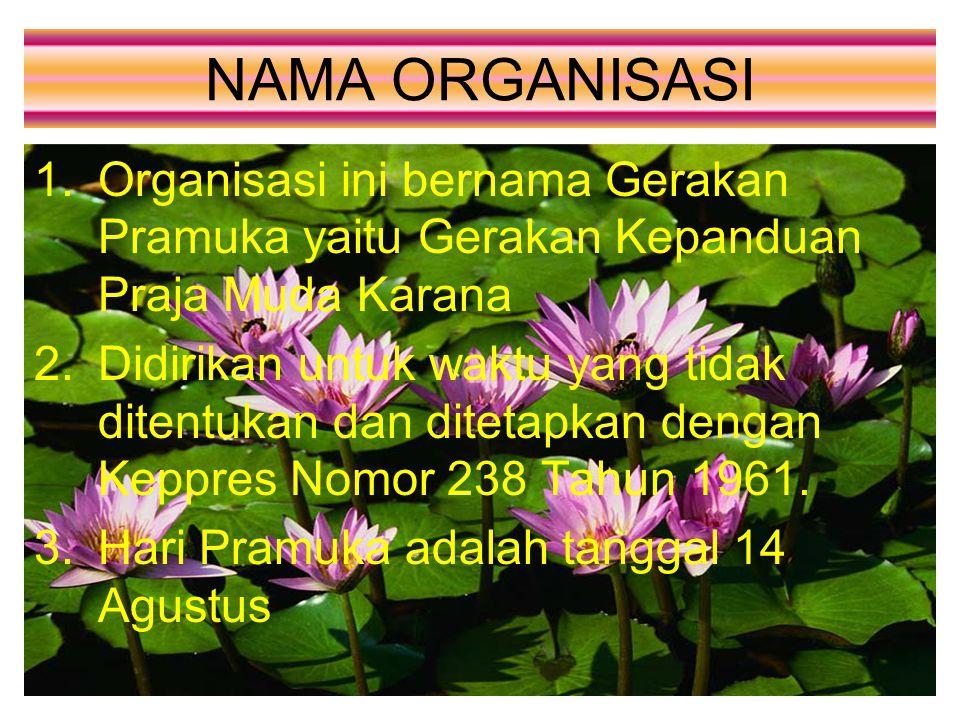NAMA ORGANISASI 1.Organisasi ini bernama Gerakan Pramuka yaitu Gerakan Kepanduan Praja Muda Karana 2.Didirikan untuk waktu yang tidak ditentukan dan d