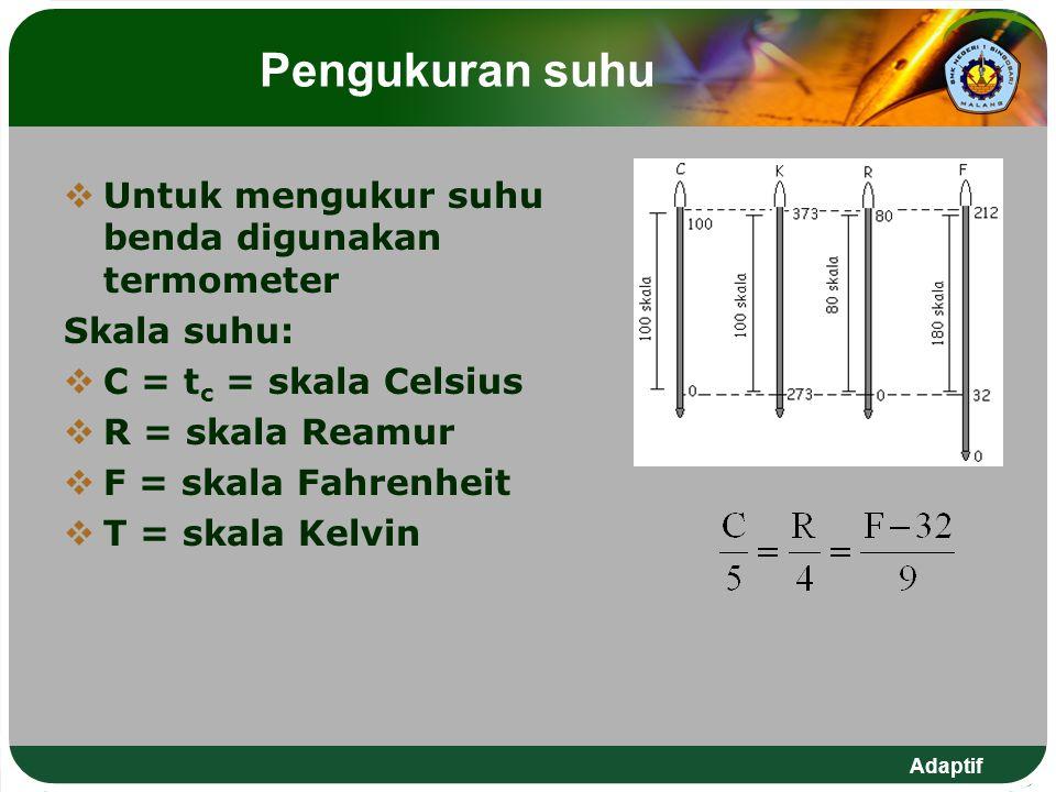 Adaptif Pengukuran suhu  Untuk mengukur suhu benda digunakan termometer Skala suhu:  C = t c = skala Celsius  R = skala Reamur  F = skala Fahrenhe