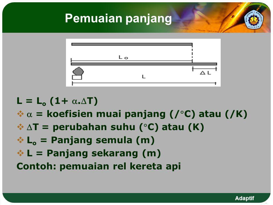 Adaptif Pemuaian panjang L = L o (1+ .T)   = koefisien muai panjang (/C) atau (/K)  T = perubahan suhu (C) atau (K)  L o = Panjang semula (m)