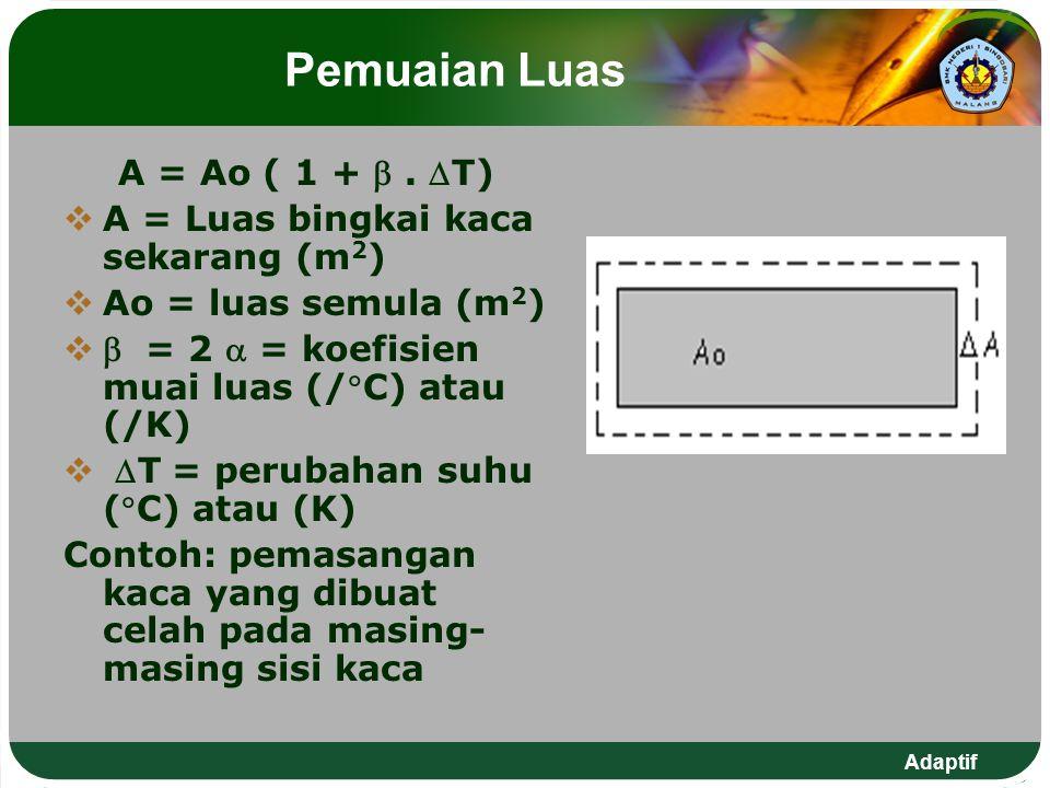 Adaptif Pemuaian Luas A = Ao ( 1 + . T)  A = Luas bingkai kaca sekarang (m 2 )  Ao = luas semula (m 2 )   = 2  = koefisien muai luas (/C) atau