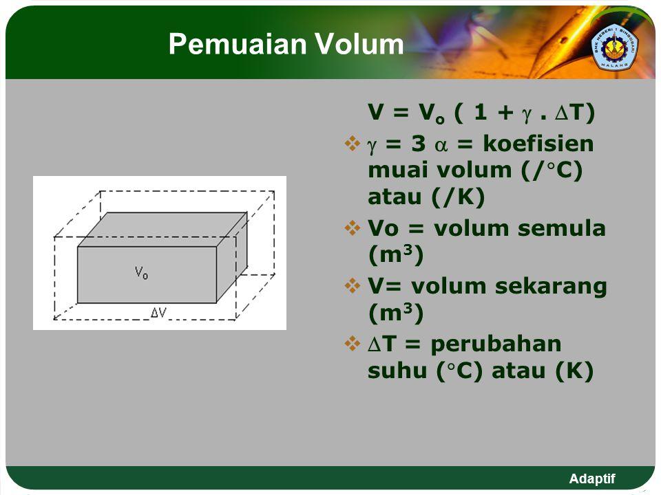 Adaptif Pemuaian Volum V = V o ( 1 + . T)   = 3  = koefisien muai volum (/C) atau (/K)  Vo = volum semula (m 3 )  V= volum sekarang (m 3 )  
