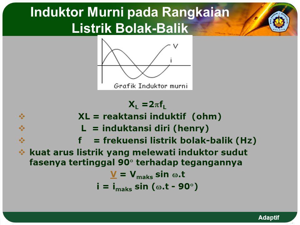Adaptif Induktor Murni pada Rangkaian Listrik Bolak-Balik X L =2f L  XL = reaktansi induktif (ohm)  L = induktansi diri (henry)  f = frekuensi lis
