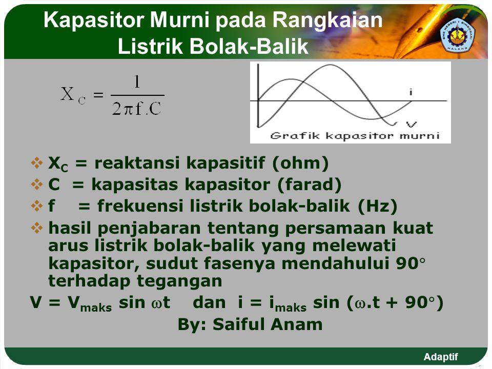 Adaptif Kapasitor Murni pada Rangkaian Listrik Bolak-Balik  X C = reaktansi kapasitif (ohm)  C = kapasitas kapasitor (farad)  f = frekuensi listrik