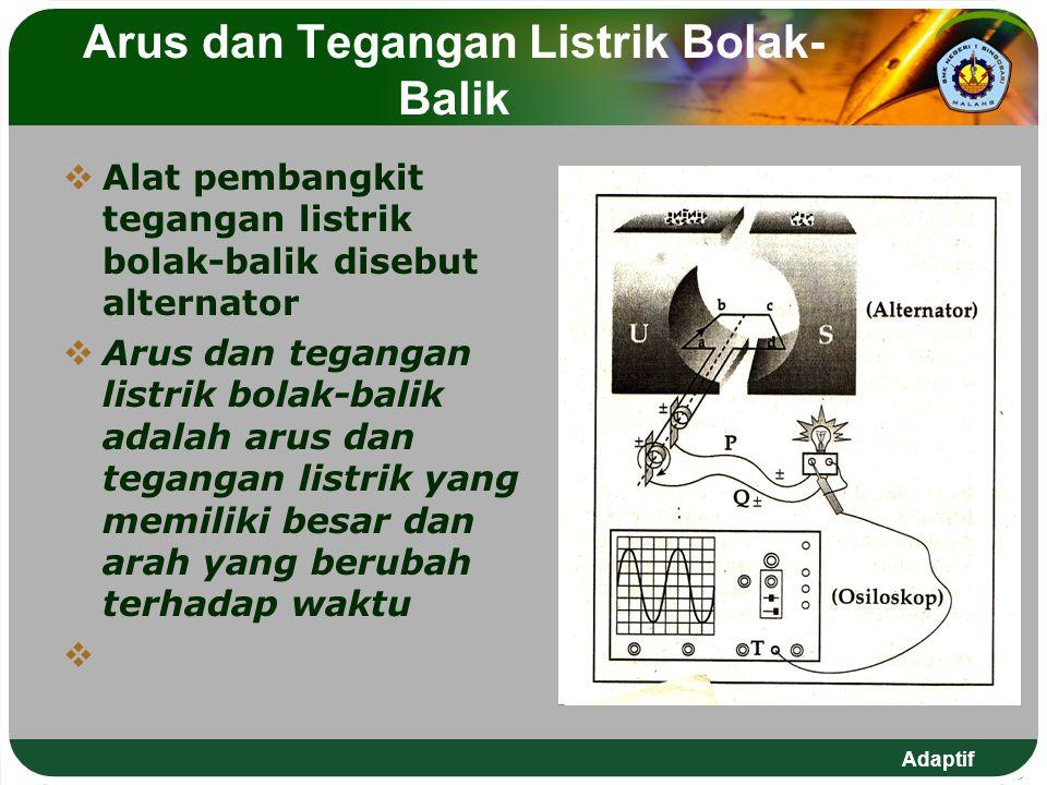 Adaptif Arus dan Tegangan Listrik Bolak- Balik  Alat pembangkit tegangan listrik bolak-balik disebut alternator  Arus dan tegangan listrik bolak-bal
