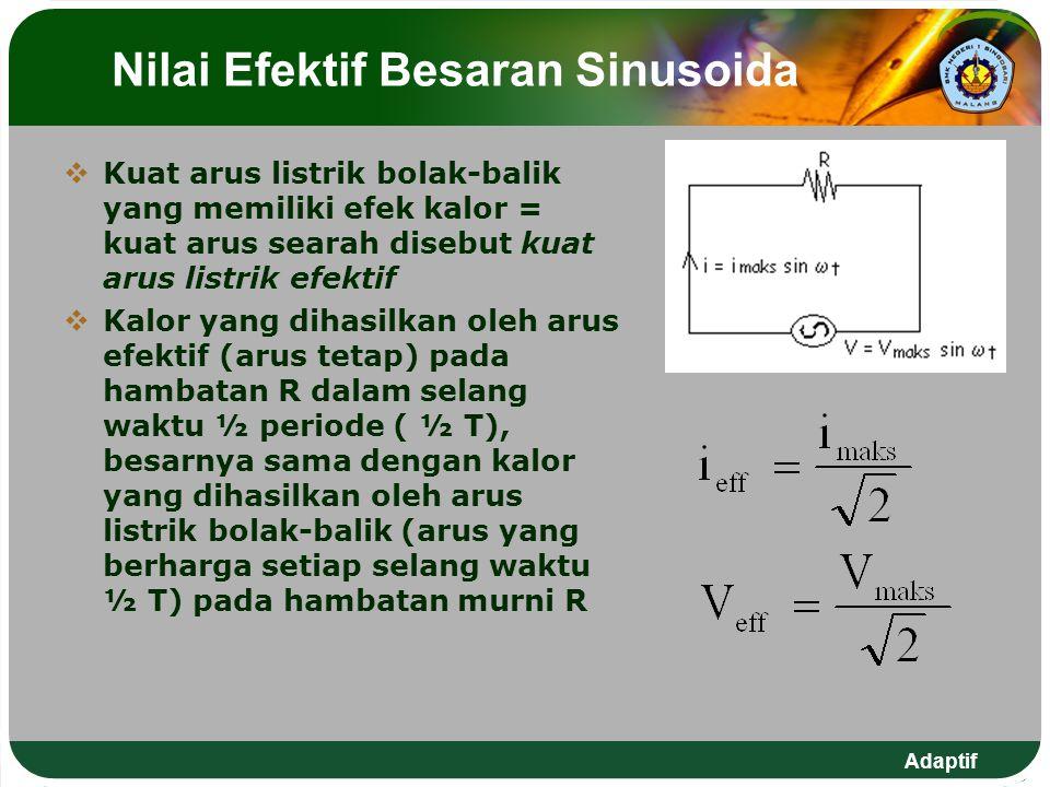 Adaptif Nilai Efektif Besaran Sinusoida  Kuat arus listrik bolak-balik yang memiliki efek kalor = kuat arus searah disebut kuat arus listrik efektif