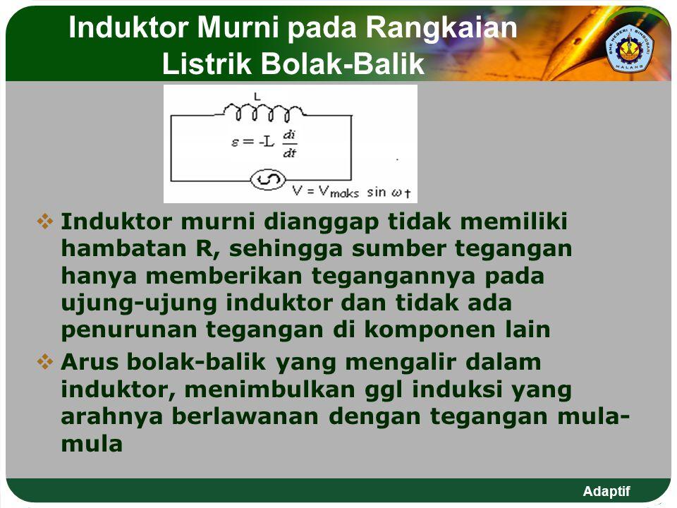 Adaptif Induktor Murni pada Rangkaian Listrik Bolak-Balik  Induktor murni dianggap tidak memiliki hambatan R, sehingga sumber tegangan hanya memberik