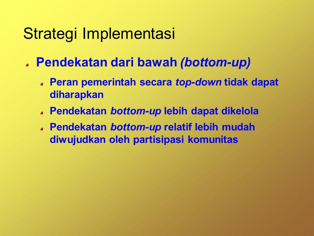 Strategi Implementasi Pendekatan dari bawah (bottom-up) Peran pemerintah secara top-down tidak dapat diharapkan Pendekatan bottom-up lebih dapat dikelola Pendekatan bottom-up relatif lebih mudah diwujudkan oleh partisipasi komunitas