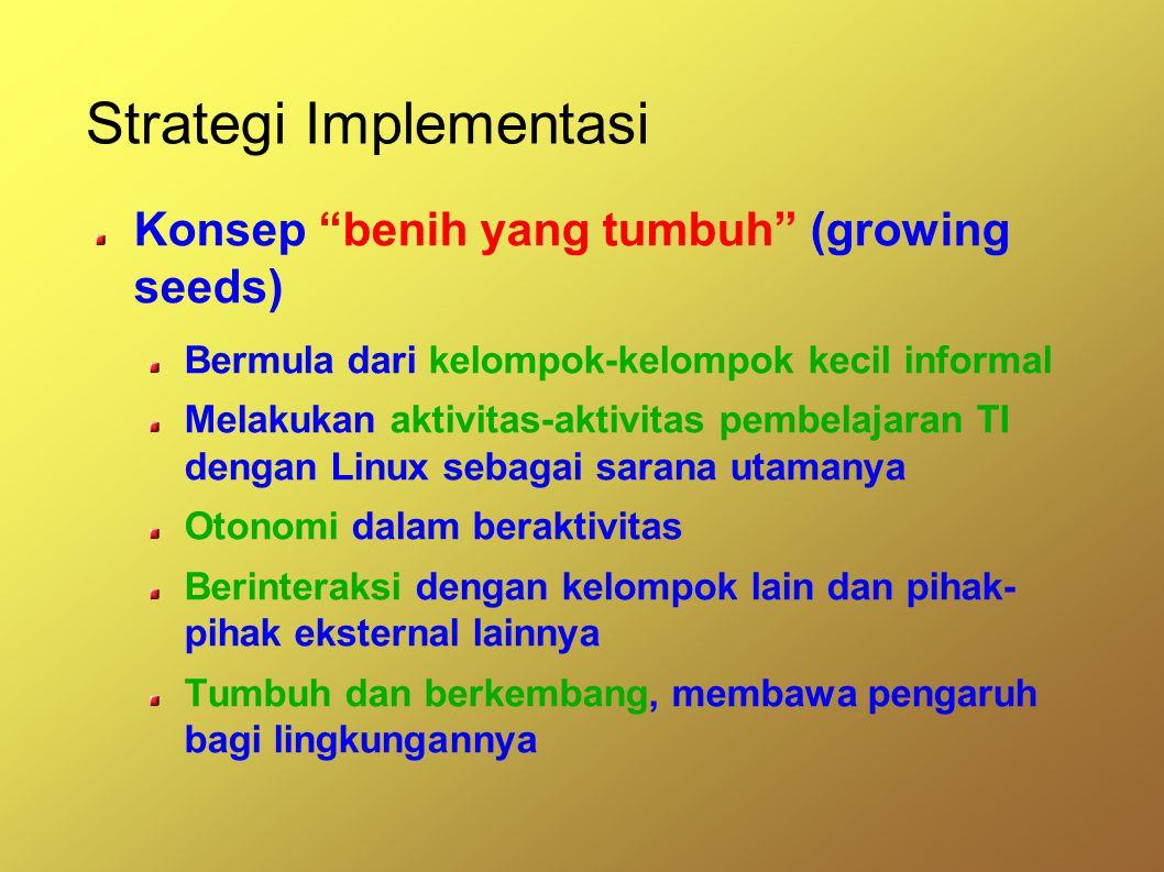 Strategi Implementasi Konsep benih yang tumbuh (growing seeds) Bermula dari kelompok-kelompok kecil informal Melakukan aktivitas-aktivitas pembelajaran TI dengan Linux sebagai sarana utamanya Otonomi dalam beraktivitas Berinteraksi dengan kelompok lain dan pihak- pihak eksternal lainnya Tumbuh dan berkembang, membawa pengaruh bagi lingkungannya