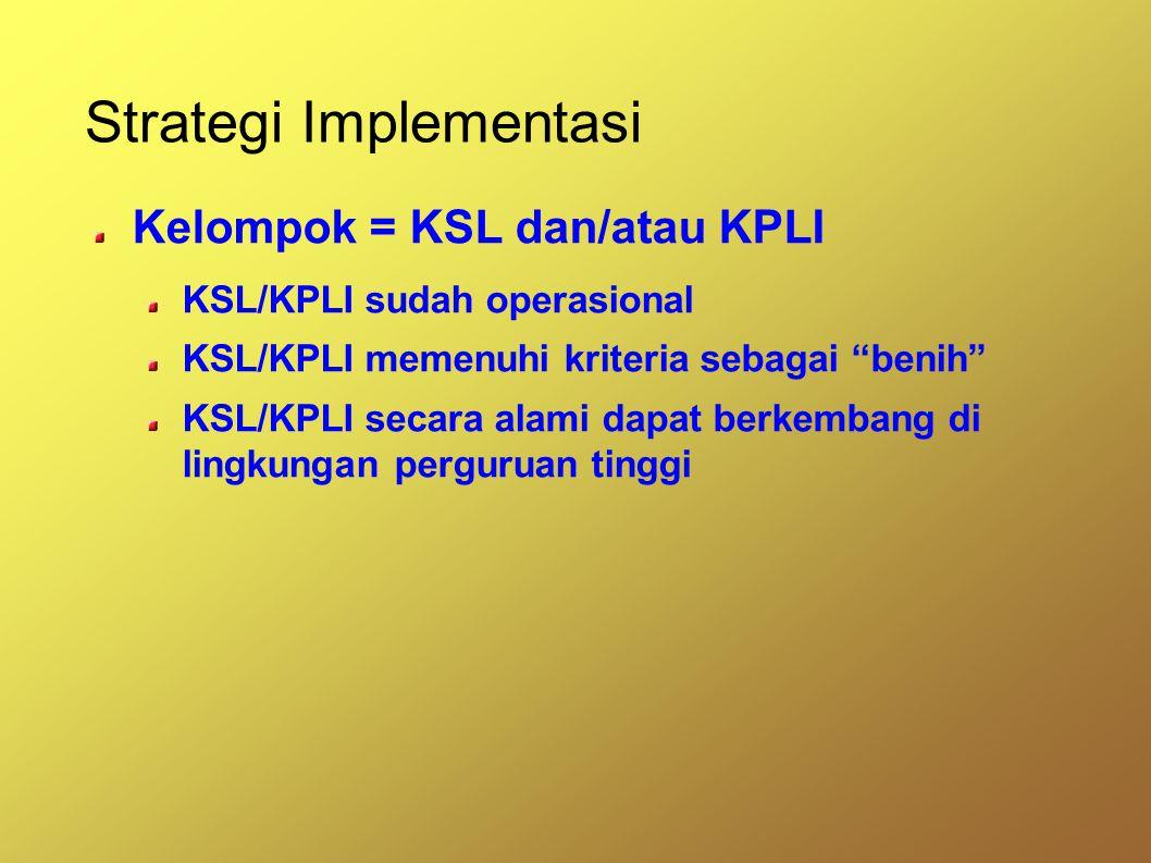 Strategi Implementasi Kelompok = KSL dan/atau KPLI KSL/KPLI sudah operasional KSL/KPLI memenuhi kriteria sebagai benih KSL/KPLI secara alami dapat berkembang di lingkungan perguruan tinggi