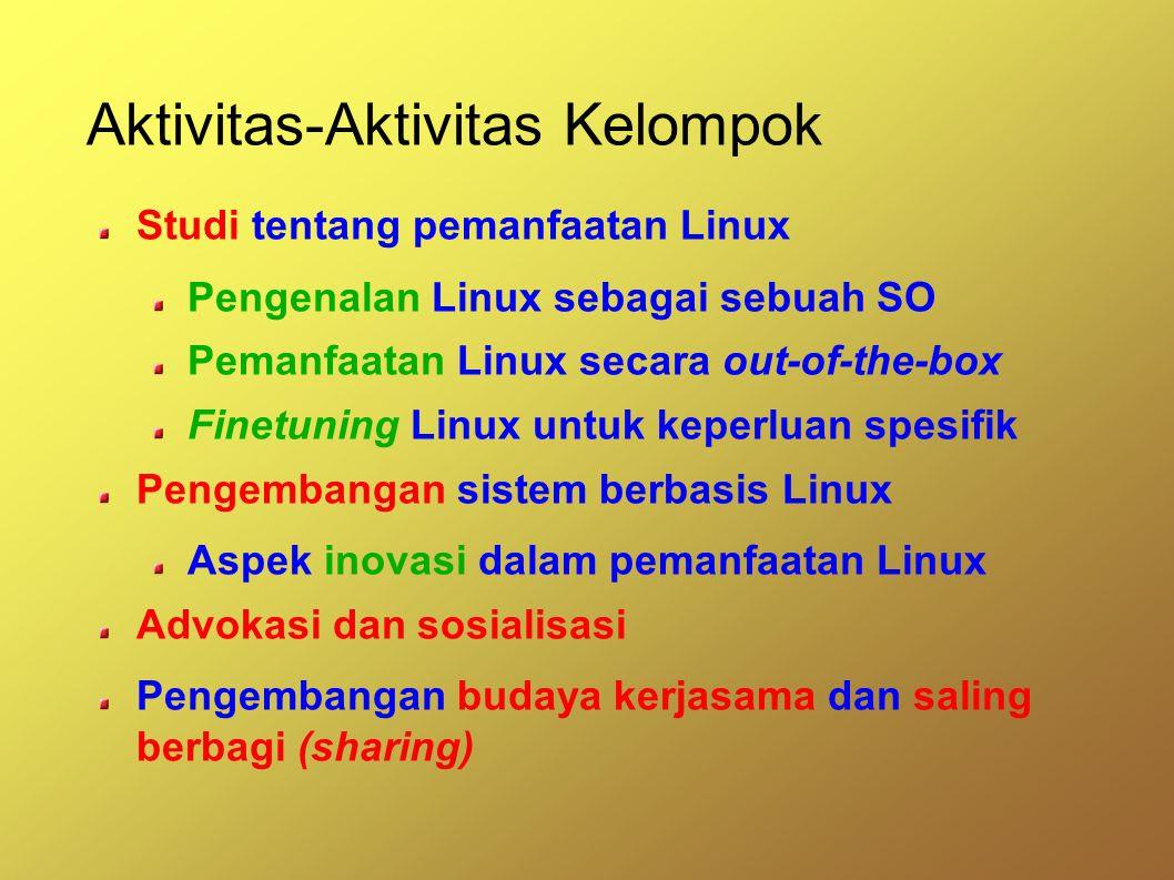Aktivitas-Aktivitas Kelompok Studi tentang pemanfaatan Linux Pengenalan Linux sebagai sebuah SO Pemanfaatan Linux secara out-of-the-box Finetuning Linux untuk keperluan spesifik Pengembangan sistem berbasis Linux Aspek inovasi dalam pemanfaatan Linux Advokasi dan sosialisasi Pengembangan budaya kerjasama dan saling berbagi (sharing)