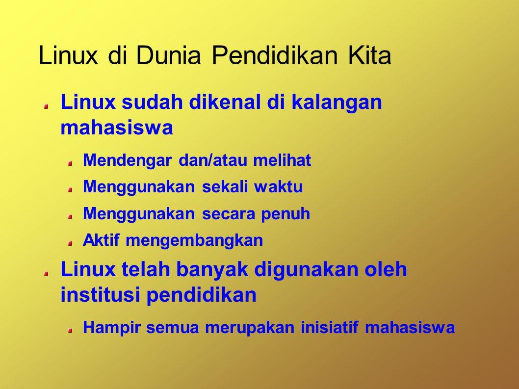 Linux di Dunia Pendidikan Kita Linux sudah dikenal di kalangan mahasiswa Mendengar dan/atau melihat Menggunakan sekali waktu Menggunakan secara penuh Aktif mengembangkan Linux telah banyak digunakan oleh institusi pendidikan Hampir semua merupakan inisiatif mahasiswa