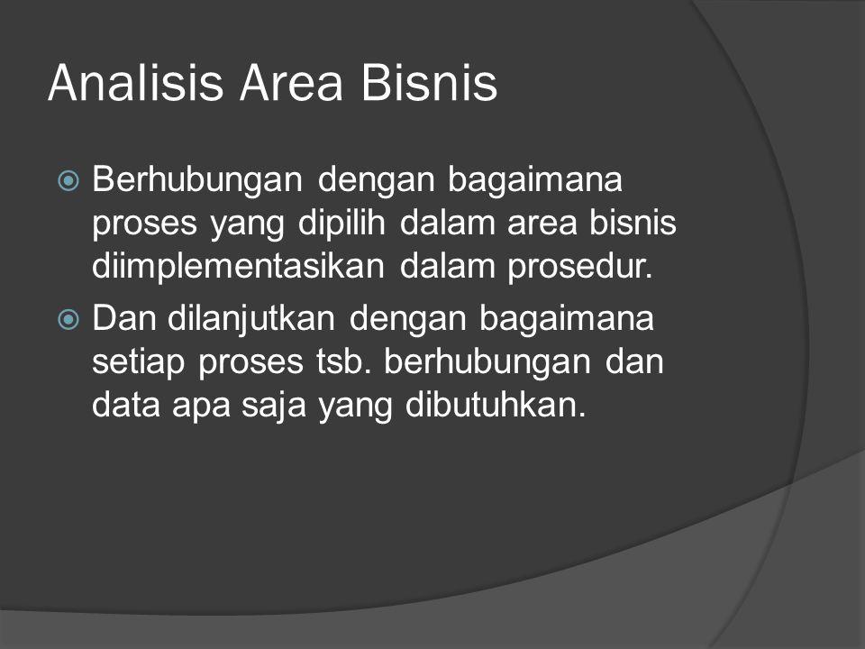 Analisis Area Bisnis  Berhubungan dengan bagaimana proses yang dipilih dalam area bisnis diimplementasikan dalam prosedur.