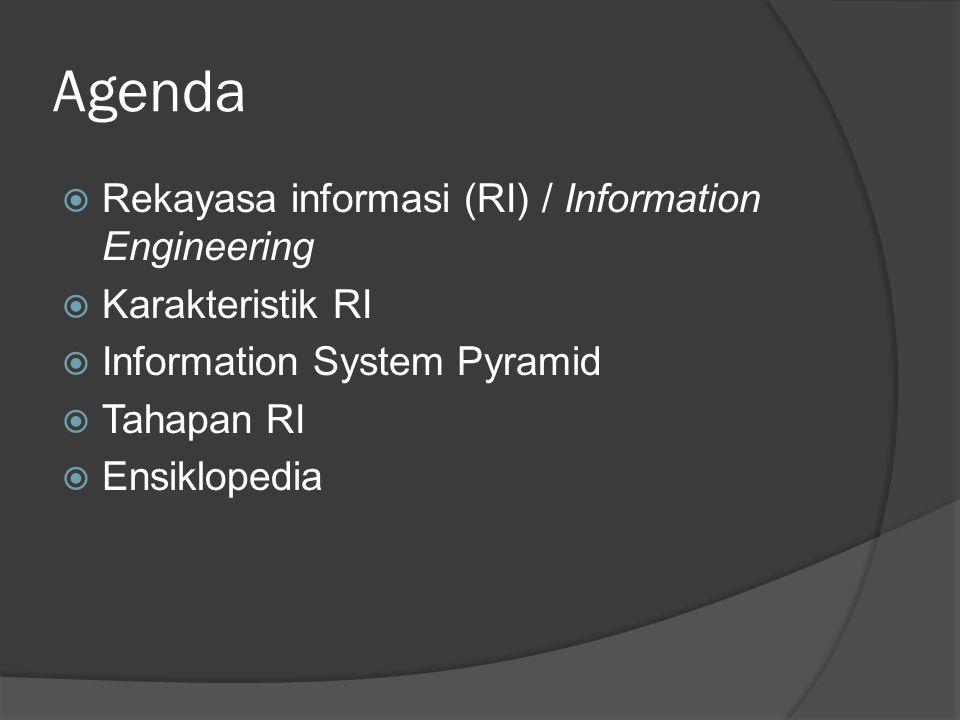 Agenda  Rekayasa informasi (RI) / Information Engineering  Karakteristik RI  Information System Pyramid  Tahapan RI  Ensiklopedia