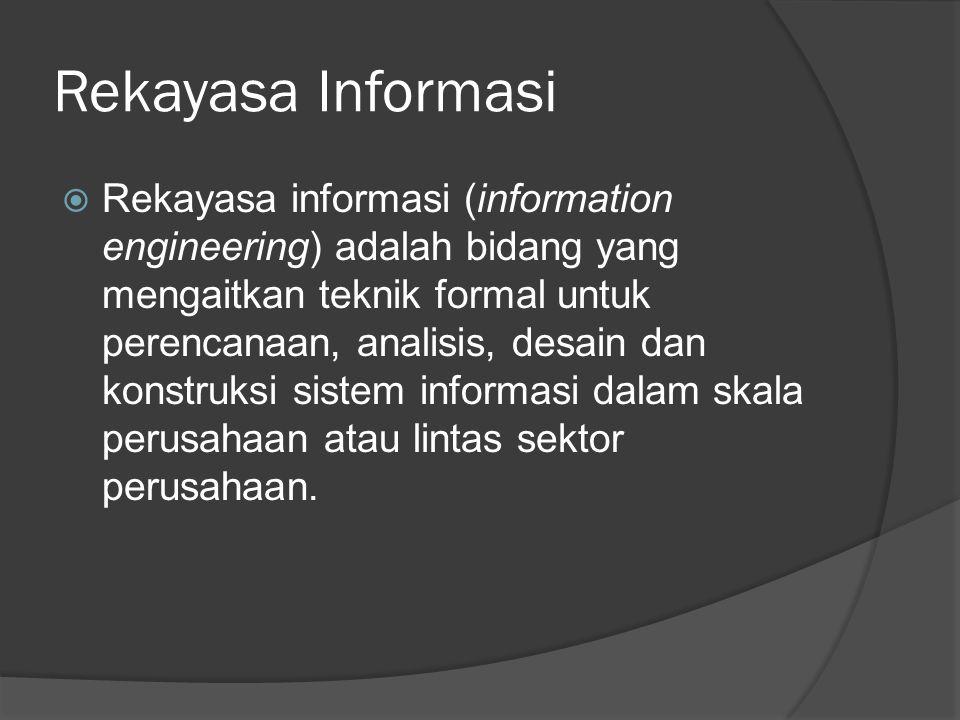 Rekayasa Informasi  Rekayasa informasi (information engineering) adalah bidang yang mengaitkan teknik formal untuk perencanaan, analisis, desain dan konstruksi sistem informasi dalam skala perusahaan atau lintas sektor perusahaan.