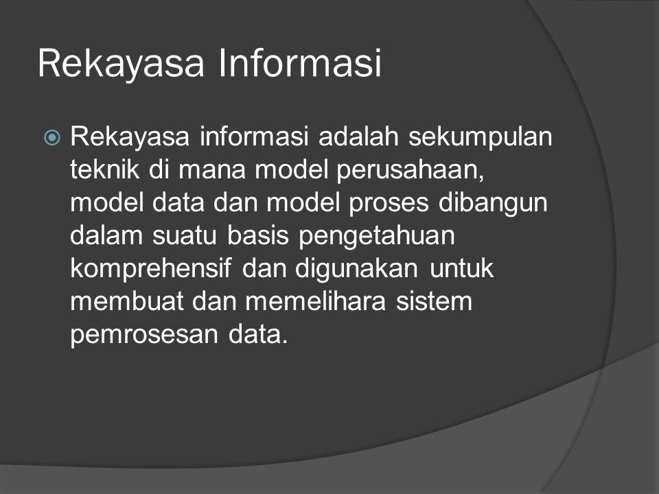 Rekayasa Informasi  Rekayasa informasi adalah sekumpulan teknik di mana model perusahaan, model data dan model proses dibangun dalam suatu basis pengetahuan komprehensif dan digunakan untuk membuat dan memelihara sistem pemrosesan data.