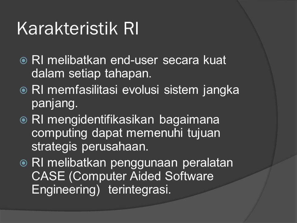 Karakteristik RI  RI melibatkan end-user secara kuat dalam setiap tahapan.