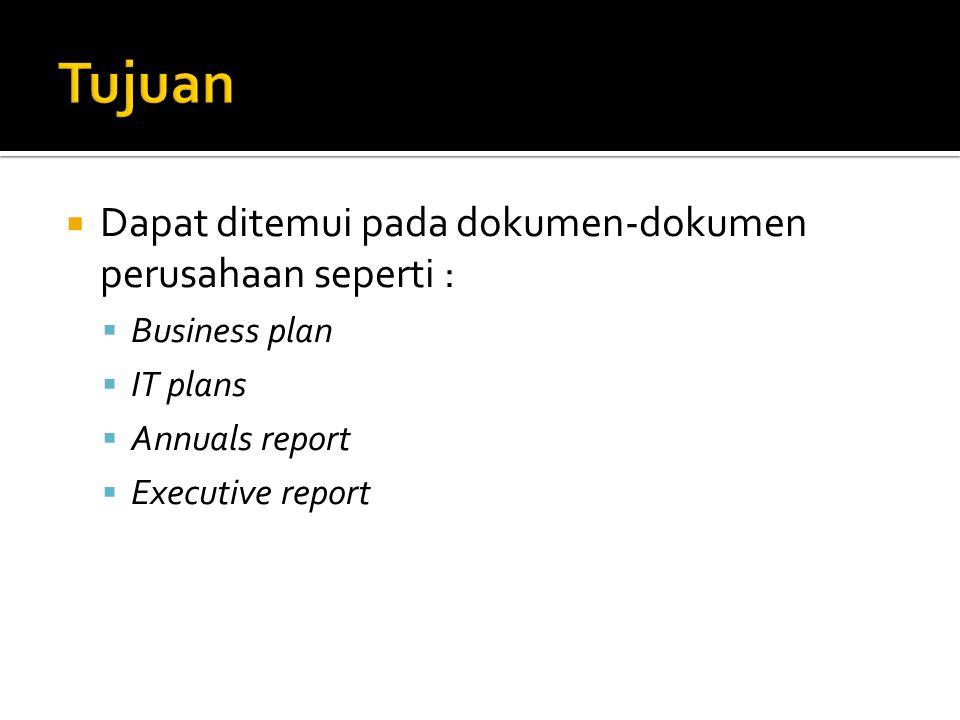  Dapat ditemui pada dokumen-dokumen perusahaan seperti :  Business plan  IT plans  Annuals report  Executive report