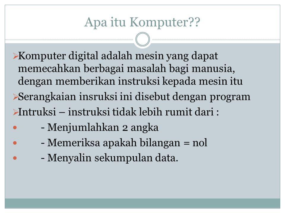 Apa itu Komputer??  Komputer digital adalah mesin yang dapat memecahkan berbagai masalah bagi manusia, dengan memberikan instruksi kepada mesin itu 