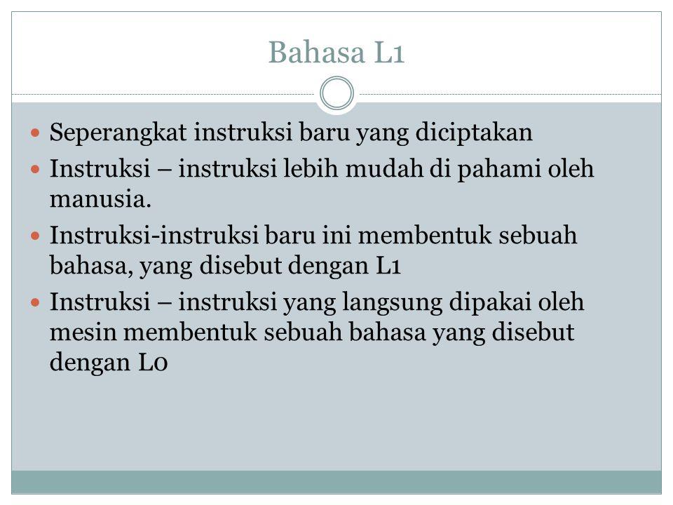 Bahasa L1 Seperangkat instruksi baru yang diciptakan Instruksi – instruksi lebih mudah di pahami oleh manusia. Instruksi-instruksi baru ini membentuk
