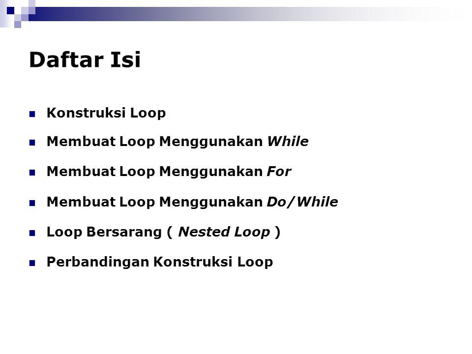 Daftar Isi Konstruksi Loop Membuat Loop Menggunakan While Membuat Loop Menggunakan For Membuat Loop Menggunakan Do/While Loop Bersarang ( Nested Loop