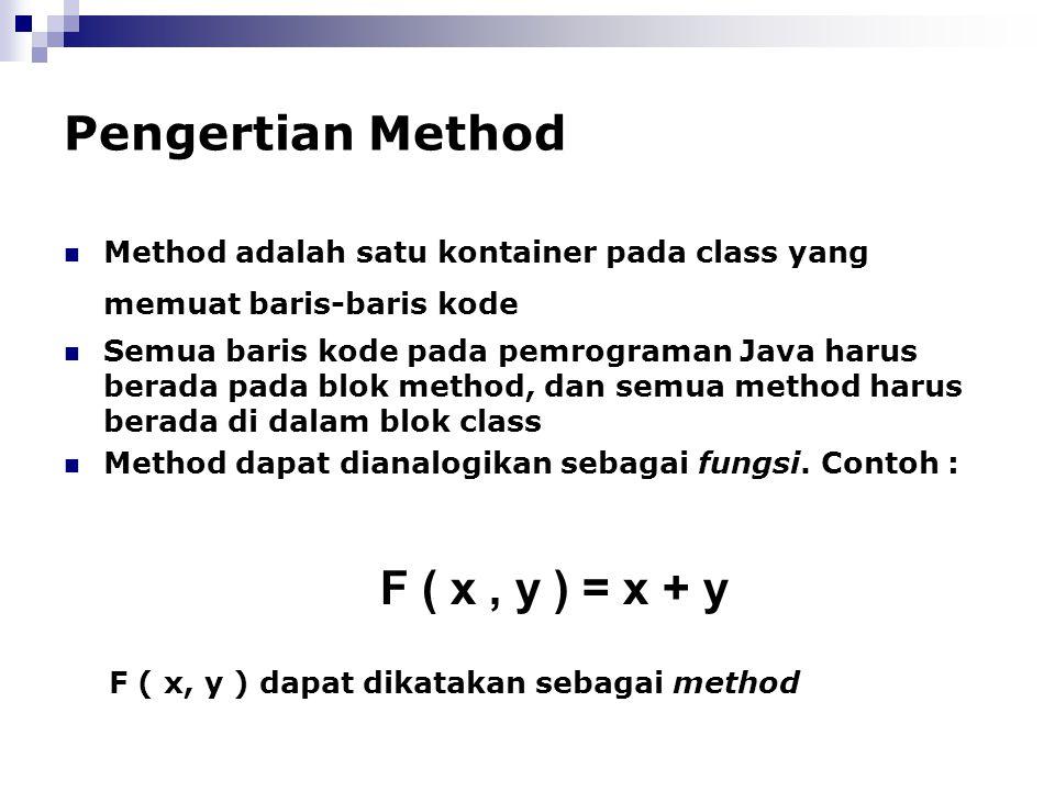 Pengertian Method Method adalah satu kontainer pada class yang memuat baris-baris kode Semua baris kode pada pemrograman Java harus berada pada blok m