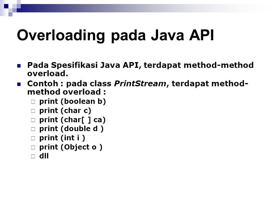 Overloading pada Java API Pada Spesifikasi Java API, terdapat method-method overload. Contoh : pada class PrintStream, terdapat method- method overloa