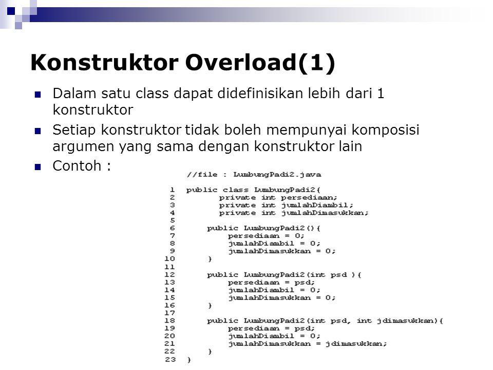 Konstruktor Overload(1) Dalam satu class dapat didefinisikan lebih dari 1 konstruktor Setiap konstruktor tidak boleh mempunyai komposisi argumen yang