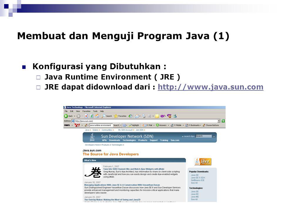 Membuat dan Menguji Program Java (1) Konfigurasi yang Dibutuhkan :  Java Runtime Environment ( JRE )  JRE dapat didownload dari : http://www.java.su