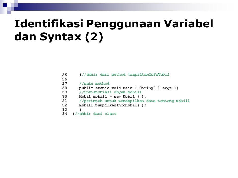 Identifikasi Penggunaan Variabel dan Syntax (2)