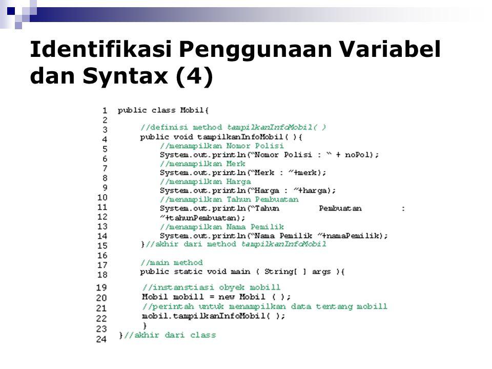 Identifikasi Penggunaan Variabel dan Syntax (4)