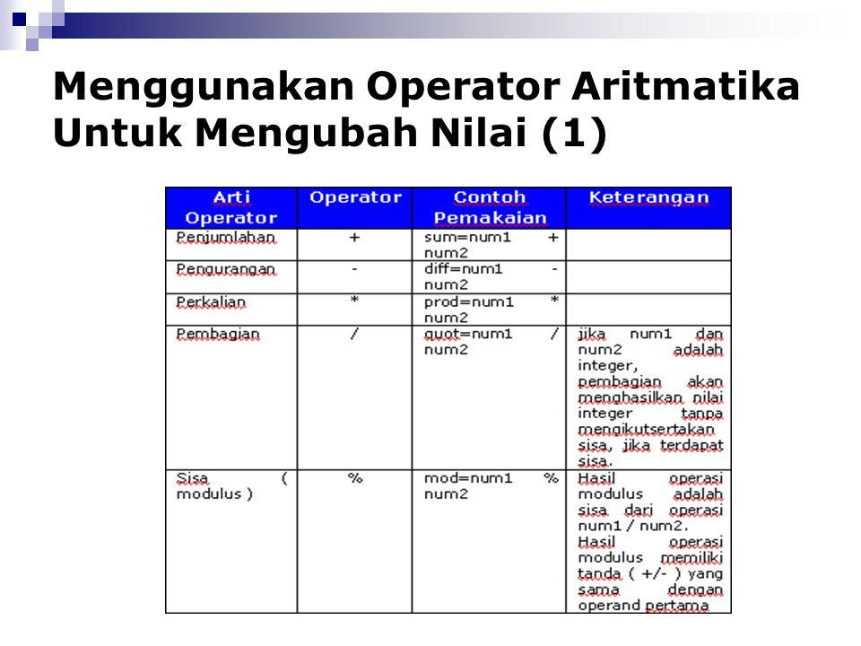 Menggunakan Operator Aritmatika Untuk Mengubah Nilai (1)