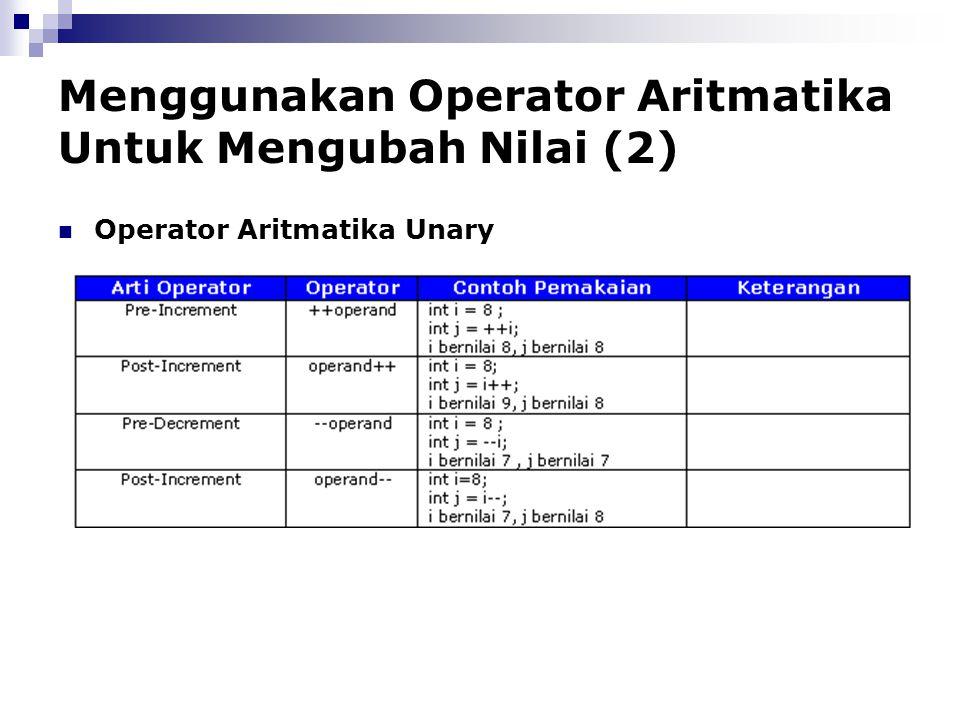Menggunakan Operator Aritmatika Untuk Mengubah Nilai (2) Operator Aritmatika Unary
