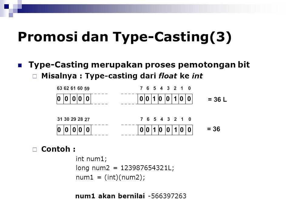 Promosi dan Type-Casting(3) Type-Casting merupakan proses pemotongan bit  Misalnya : Type-casting dari float ke int  Contoh : int num1; long num2 =