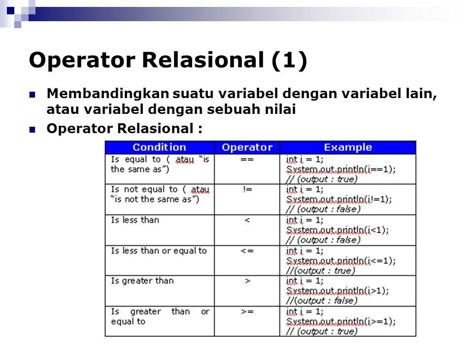 Operator Relasional (1) Membandingkan suatu variabel dengan variabel lain, atau variabel dengan sebuah nilai Operator Relasional :