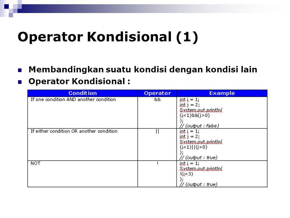 Operator Kondisional (1) Membandingkan suatu kondisi dengan kondisi lain Operator Kondisional :