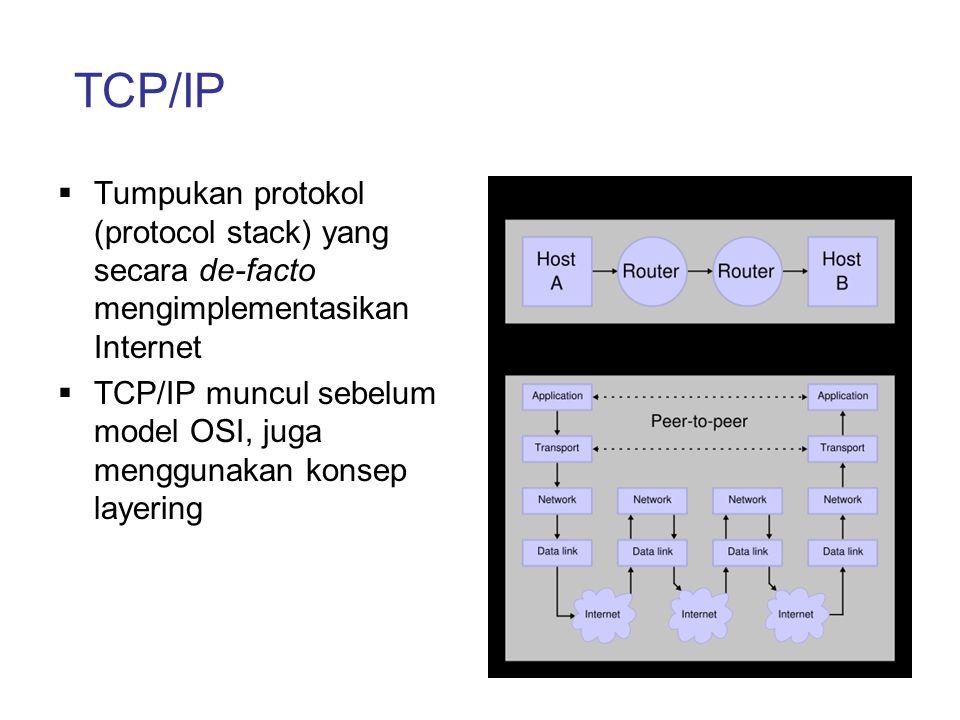 TCP/IP  Tumpukan protokol (protocol stack) yang secara de-facto mengimplementasikan Internet  TCP/IP muncul sebelum model OSI, juga menggunakan kons