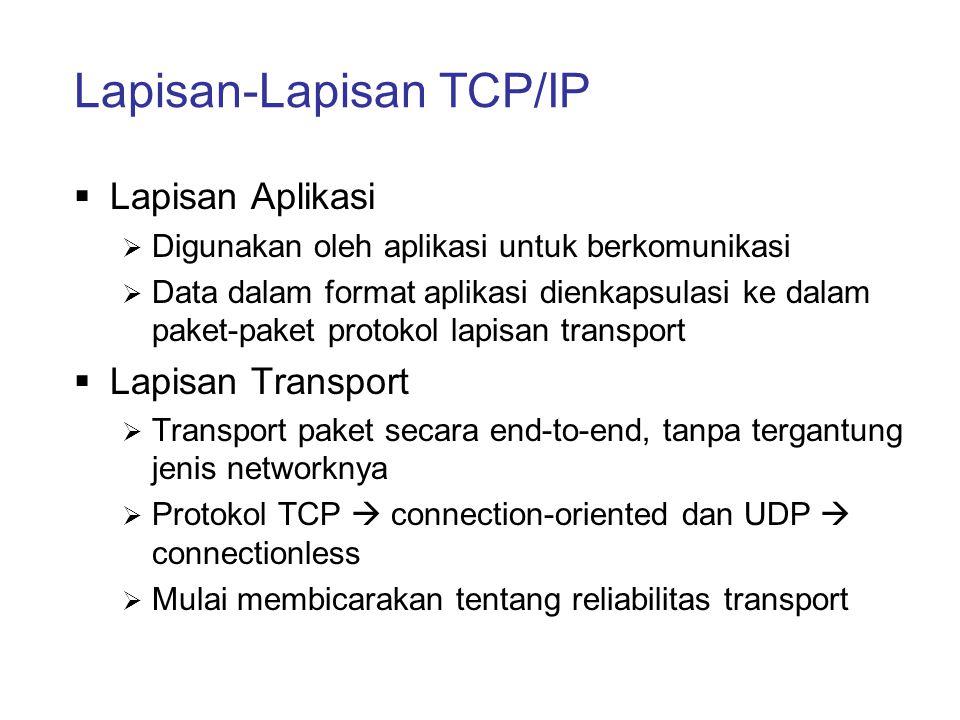 Lapisan-Lapisan TCP/IP  Lapisan Aplikasi  Digunakan oleh aplikasi untuk berkomunikasi  Data dalam format aplikasi dienkapsulasi ke dalam paket-pake