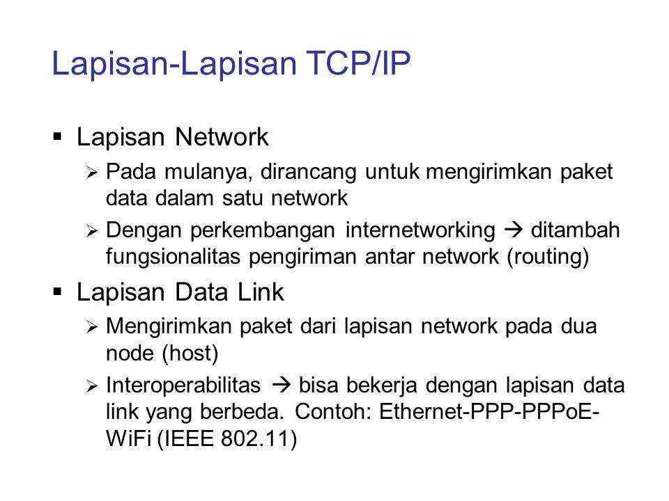 Lapisan-Lapisan TCP/IP  Lapisan Network  Pada mulanya, dirancang untuk mengirimkan paket data dalam satu network  Dengan perkembangan internetworki
